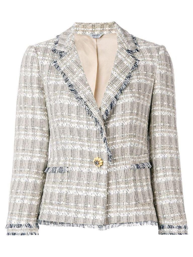 Liu Jo frayed edges tweed jacket - Brown