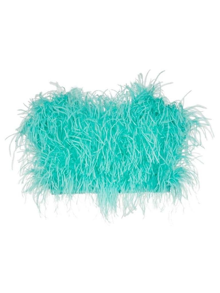Attico Ostrich Feather Cropped Bustier - Blue