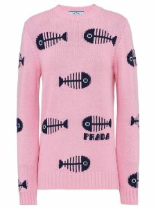 Prada fishbone intarsia motif jumper - Pink