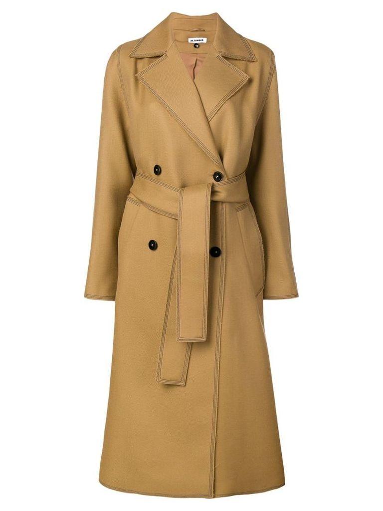 Jil Sander double breasted coat - Brown