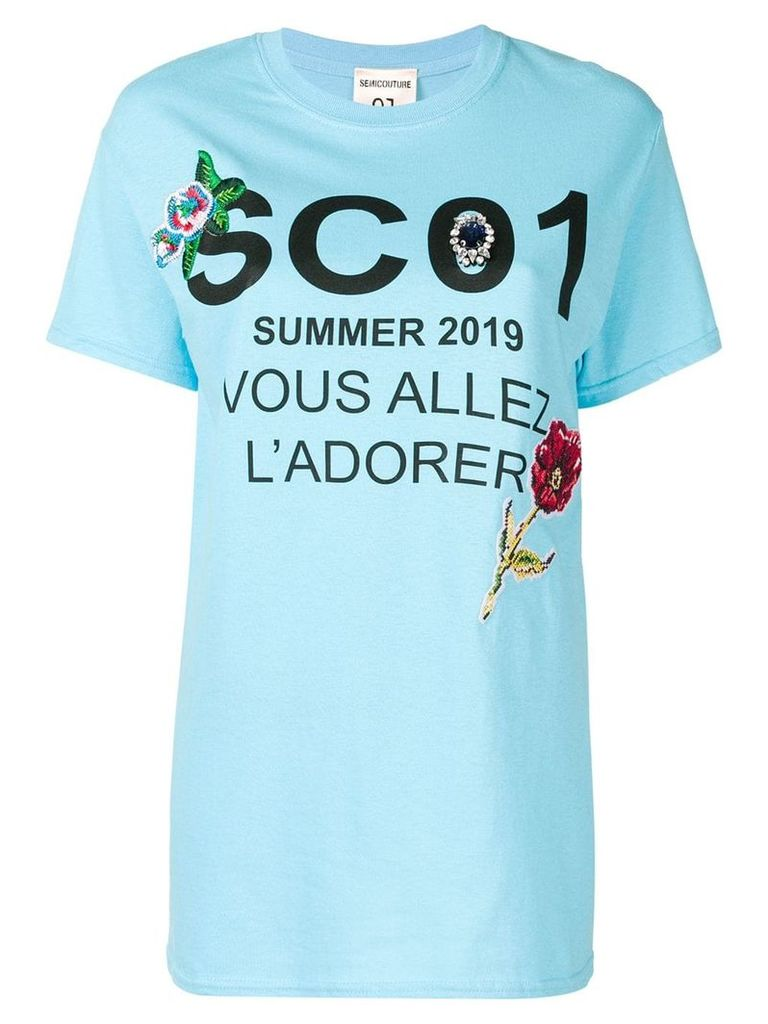Semicouture graphic print T-shirt - Blue