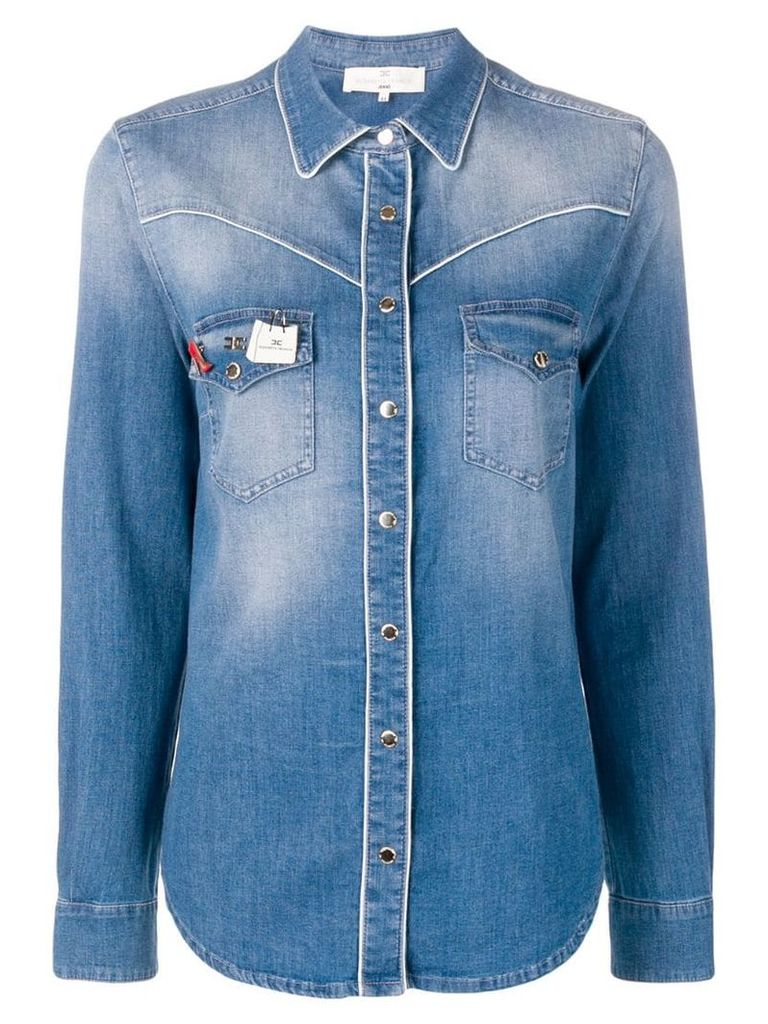 Elisabetta Franchi branded pin denim shirt - Blue