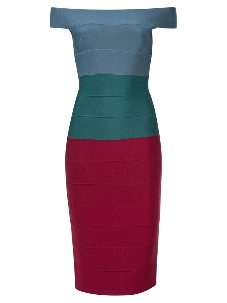 Hervé Léger panelled fitted midi dress - Multicolour