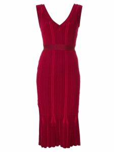 Hervé Léger v-neck ribbed dress - Red