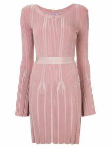 Hervé Léger ribbed fitted jumper dress - Pink