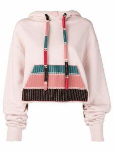 Alanui knitted pocket hoodie - Pink