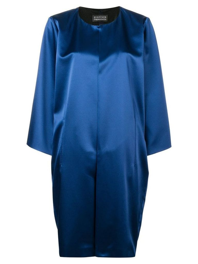 Gianluca Capannolo collarless mid-length coat - Blue