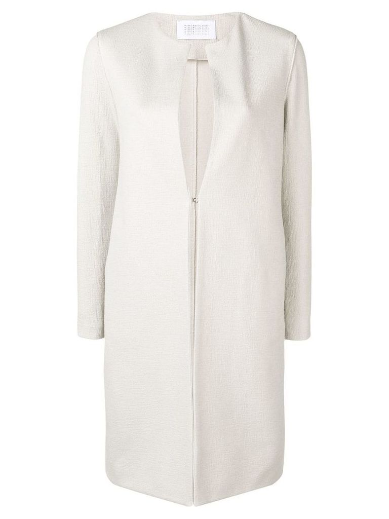 Harris Wharf London collarless mid-length coat - Neutrals