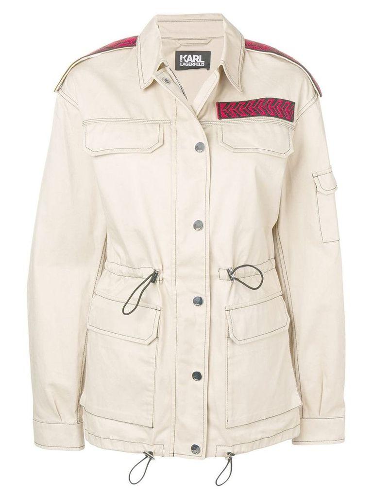 Karl Lagerfeld mid-length safari jacket - Neutrals