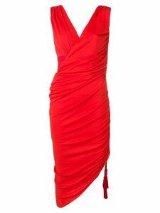Lanvin ruched midi dress - Red