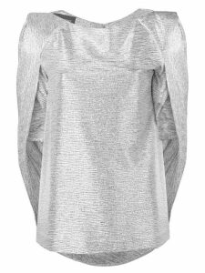 Talbot Runhof mirrorball metallic cape top - Silver
