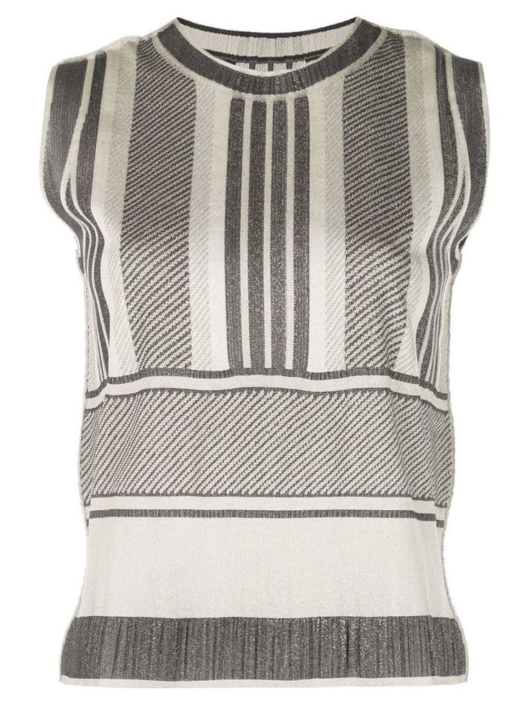 Pleats Please By Issey Miyake sleeveless striped top - Grey