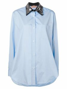 Nº21 oversized sequin-collar shirt - Blue