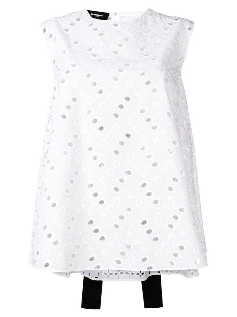 Rochas eyelet embroidery blouse - White