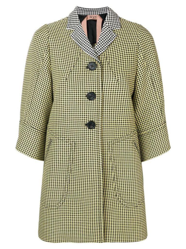 Nº21 3/4 sleeves houndstooth coat - Yellow