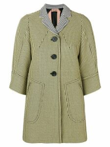 Nº21 3/4 sleeves houndstooth coat - Yellow