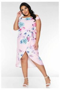 Quiz Curve Pink and Blue Bardot Floral Midi Dress