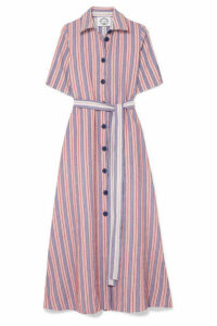 Evi Grintela - Valerie Belted Striped Linen And Cotton-blend Midi Dress - Red