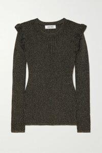 Figue - Nyla Ruffled Metallic Printed Georgette Maxi Dress - Black
