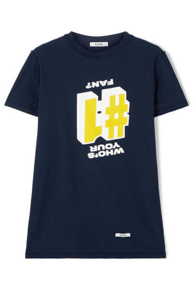 BLOUSE1 Fan Printed Cotton-jersey T-shirt - Navy