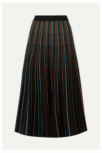 REDValentino - Striped Cotton-blend Midi Skirt - Black