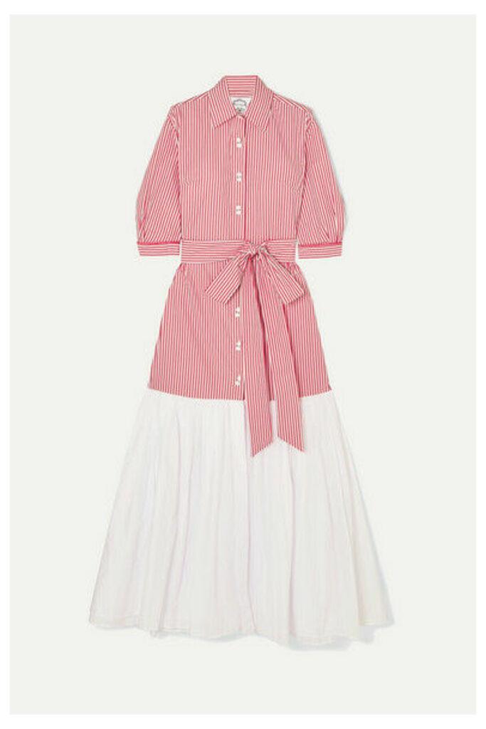 Evi Grintela - Carmen Paneled Striped Cotton-poplin Dress - Red
