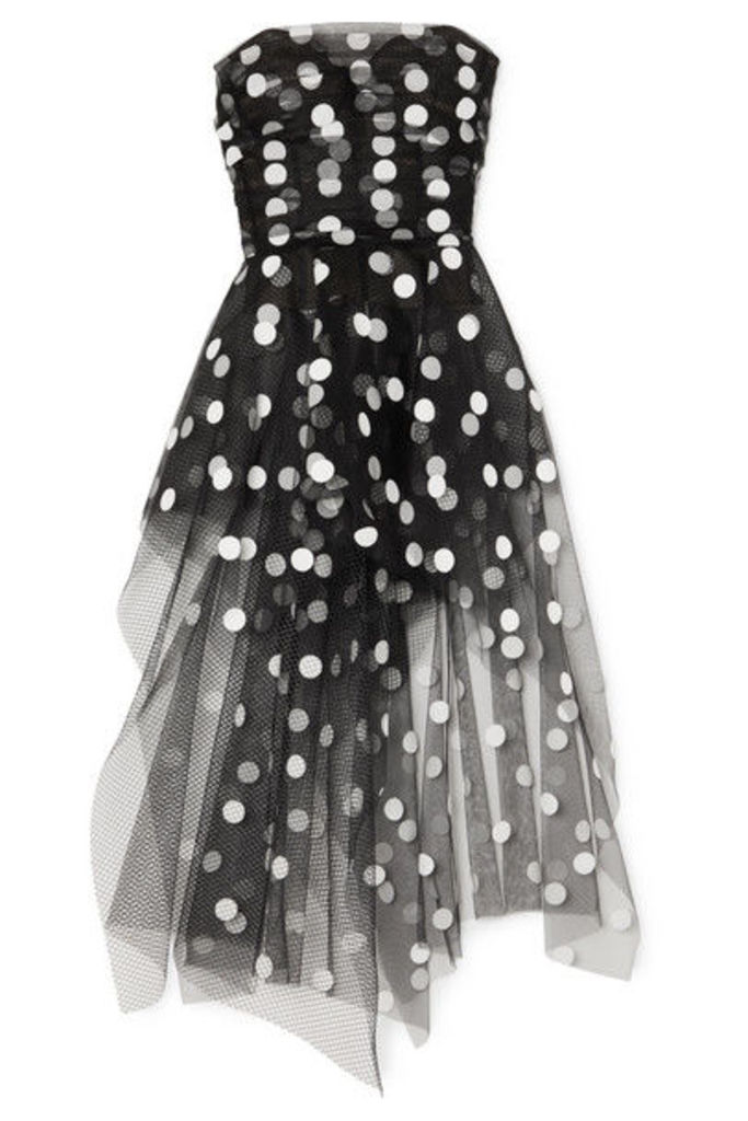 Oscar de la Renta - Strapless Asymmetric Polka-dot Flocked Tulle Top - Black