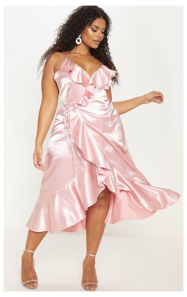 Plus Rose Satin Frill Wrap Midi Dress, Pink