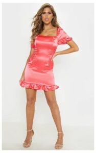 Pink Satin Puff Sleeve Frill Hem Bodycon Dress, Hot Pink