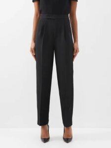 Balenciaga - Logo Print Ribbed Wrap Midi Dress - Womens - Black Multi