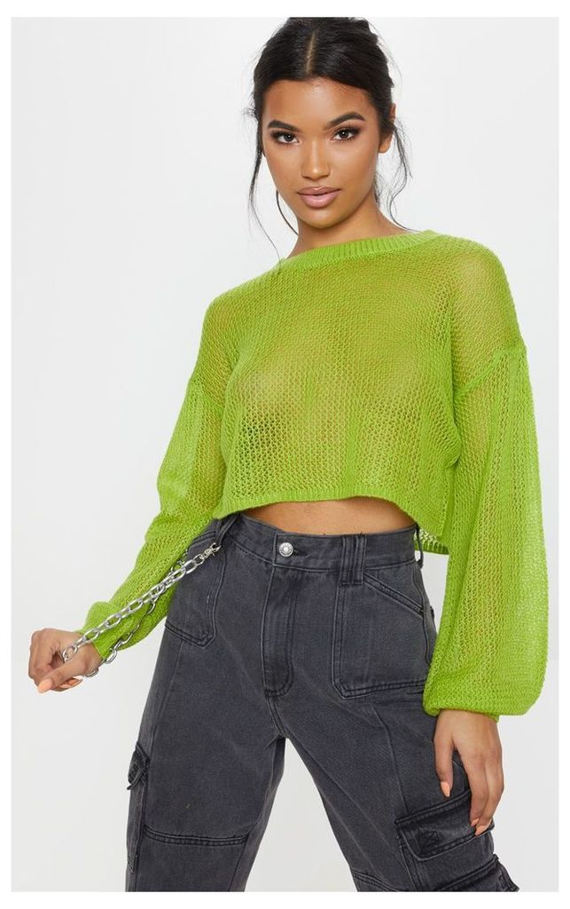Lime Laguna Knitted Wide Sleeve Cropped Jumper, Neon Lime