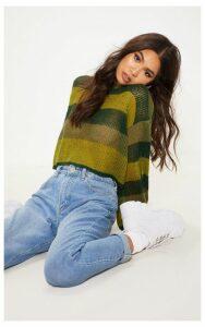 Khaki Striped Knitted Cropped Laguna Jumper, Green
