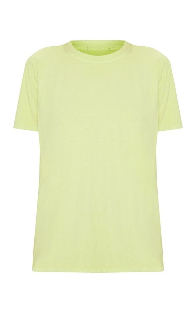 Light Lime Washed Oversized T Shirt, Green