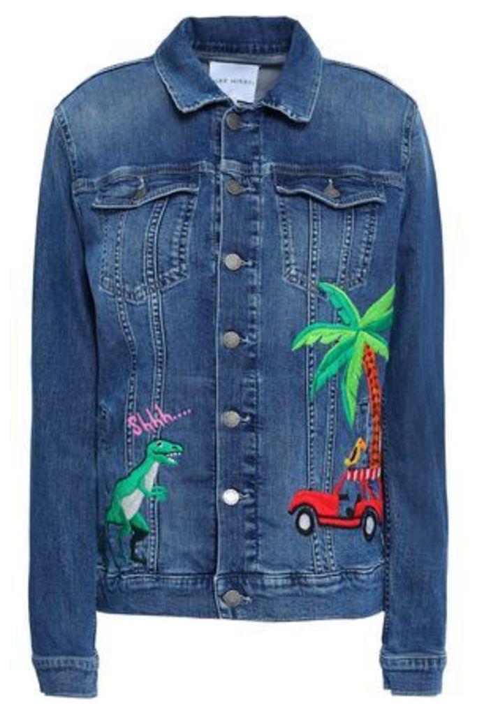 Mira Mikati Woman Embroidered Denim Jacket Mid Denim Size 36
