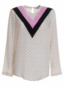 Stella Mccartney Contrast-panel Logo-print Silk-crepe De Chine Shirt In Multicolor