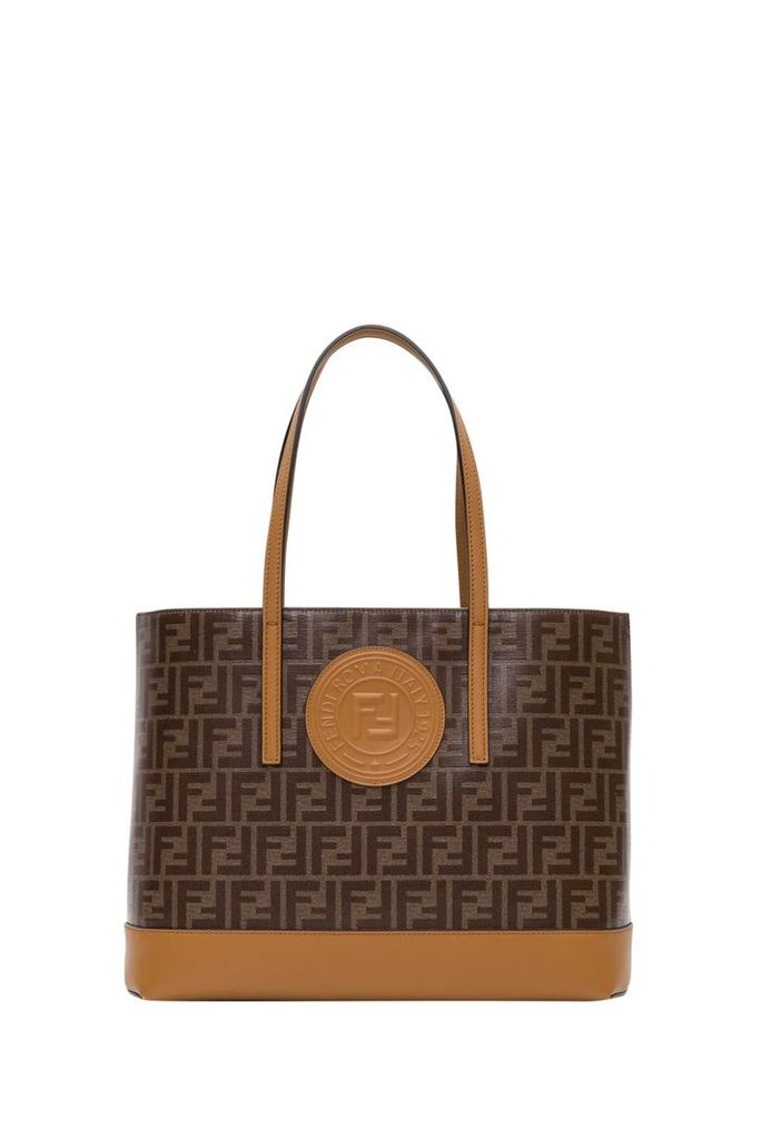 Fendi Ff Tote In Glazed Fabric