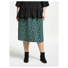 JUNAROSE Curve Abstract Blur Print Skirt, Forest Green