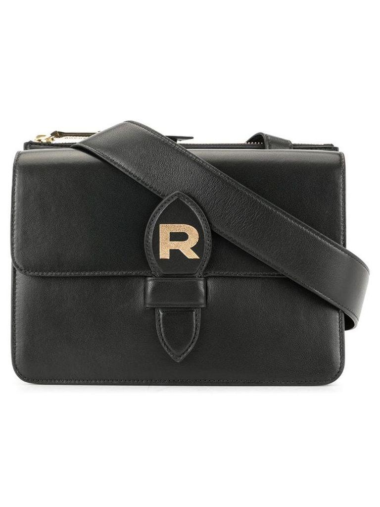 Rochas foldover logo crossbody bag - Black