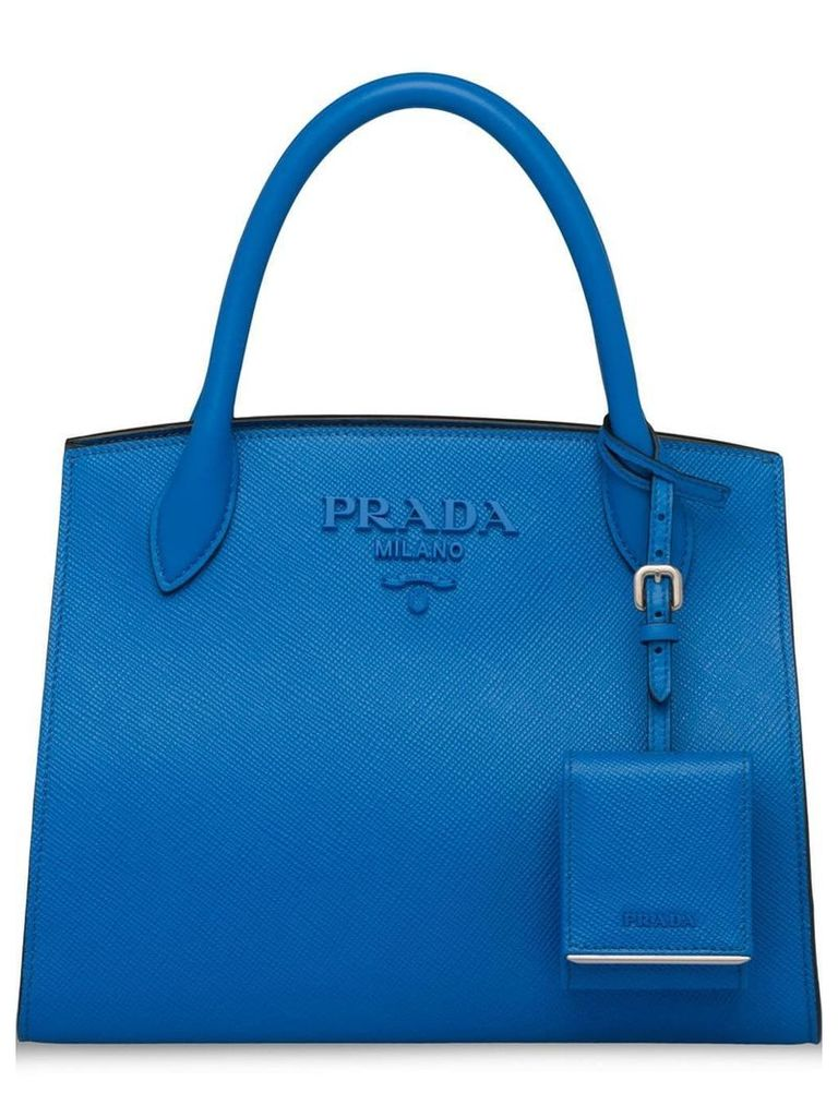 Prada monochrome Saffiano leather tote bag - Blue