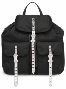 Prada studded nylon backpack - Black