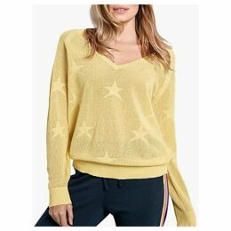 hush Fay V-Neck Star Jumper, Lemon Cream