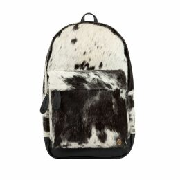MAHI Leather - Classic Cowhide Leather Backpack Rucksack In Black & White