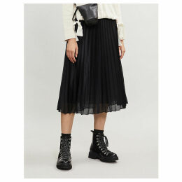 High-waist pleated perforated stretch-jersey midi skirt