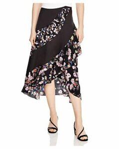 Sandro Kylie Ruffled Asymmetric Floral Skirt
