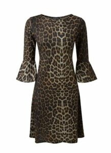 **Grace Brown Animal Print Skater Dress, Brown