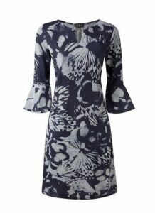 **Grace Navy Blue Printed Keyhole Dress, Navy