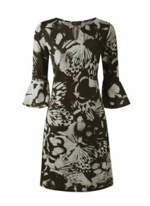 **Grace Black Printed Keyhole Dress, Black