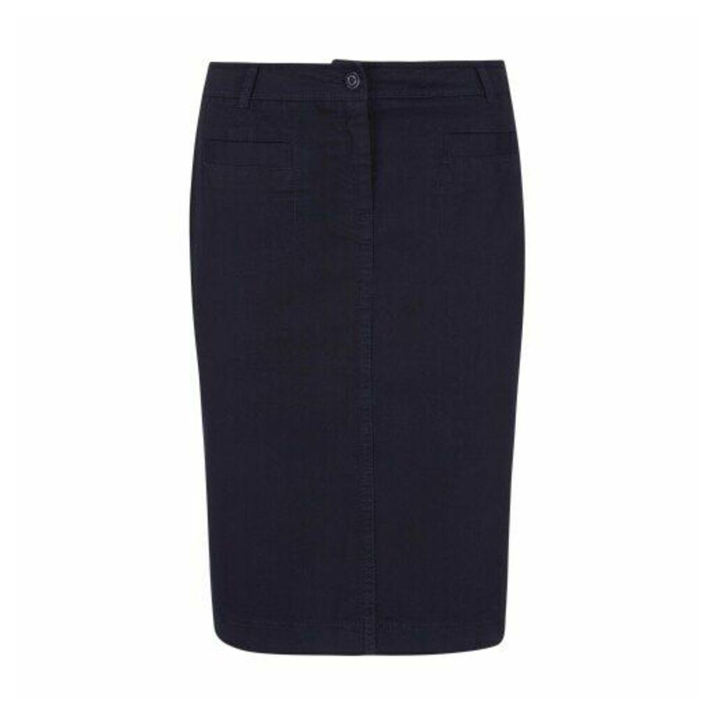 Navy Knee Length Stretch Cotton Jean Skirt