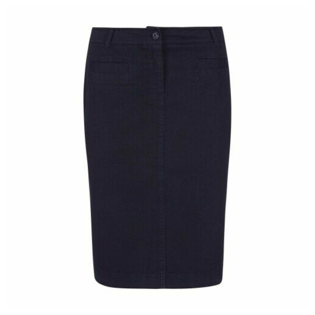 Navy Knee Length Stretch Cotton Jean Skirt