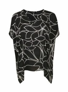 Black Floral Print Cape Top, Black